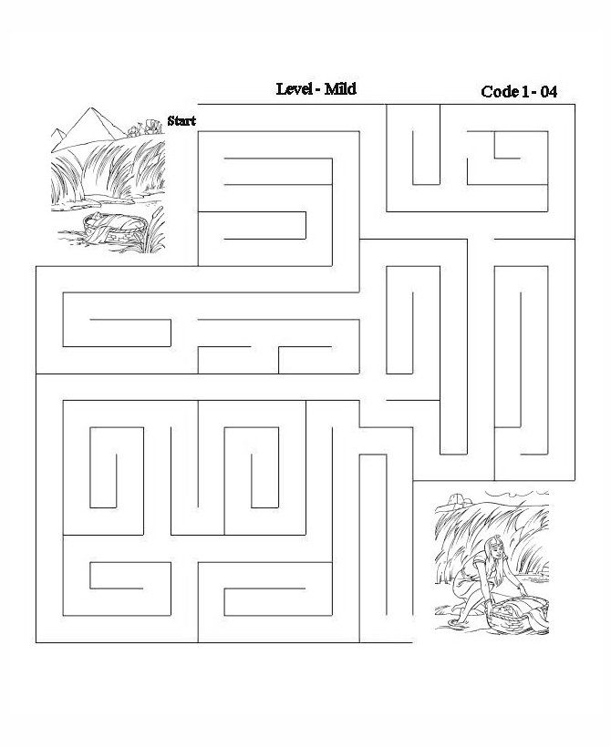 Bible Lesson Activity Maze - Baby Moses | Moses - Baby ...