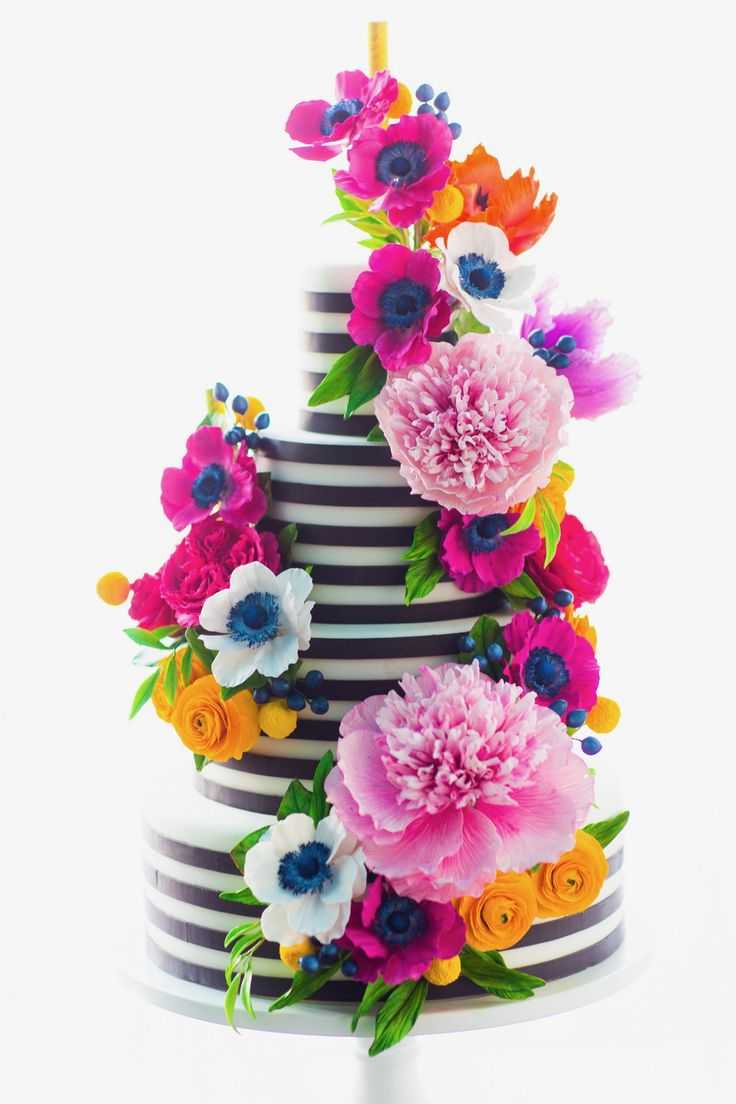 713 best wedding cakes and wedding treats images on pinterest bright and colorful sugar flower cake i black and white stripe wedding cake i black and white stripe cake i mischief maker cakes birthday wedding bright dhlflorist Image collections