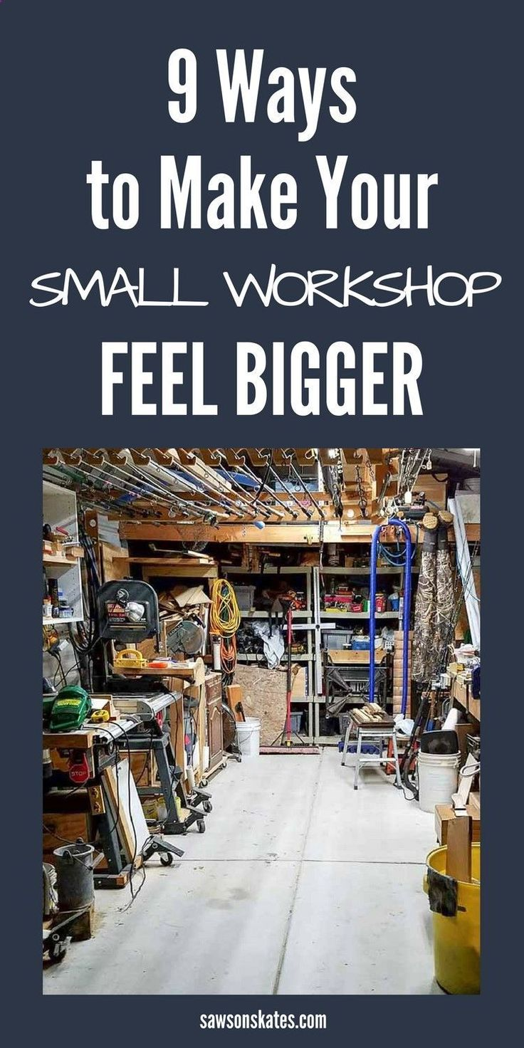 No matter if your woodworking shop is in your basement, garage or shed it can sometimes feel crowded and cramped. With some clever small workshop ideas, a space-saving layout, and organization and storage solutions your shop can feel bigger. #smallworkshopideas #workshop #shedorganizationideas #woodworkingshop