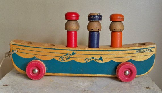 Wood Pull Toy Charming Vintage 3 Men In A Boat Holgate