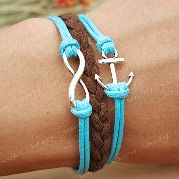 Bracelet-Infinity karma bracelet-Anchor bracelet- Gift for girl friend: Anchors Bracelets, Idea, Style, So Cute, Cute Bracelets, Infinity Bracelets, Karma Bracelets, Accessories, Infinity Anchors