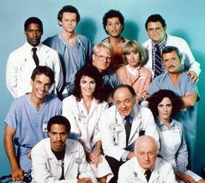 St. Elsewhere from the 80s. Similar to Grey's Anatomy...Howie Mandel with hair!