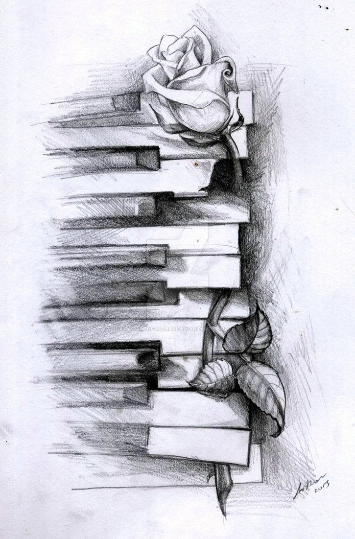Old piano and a rose by ArtOfAsthar