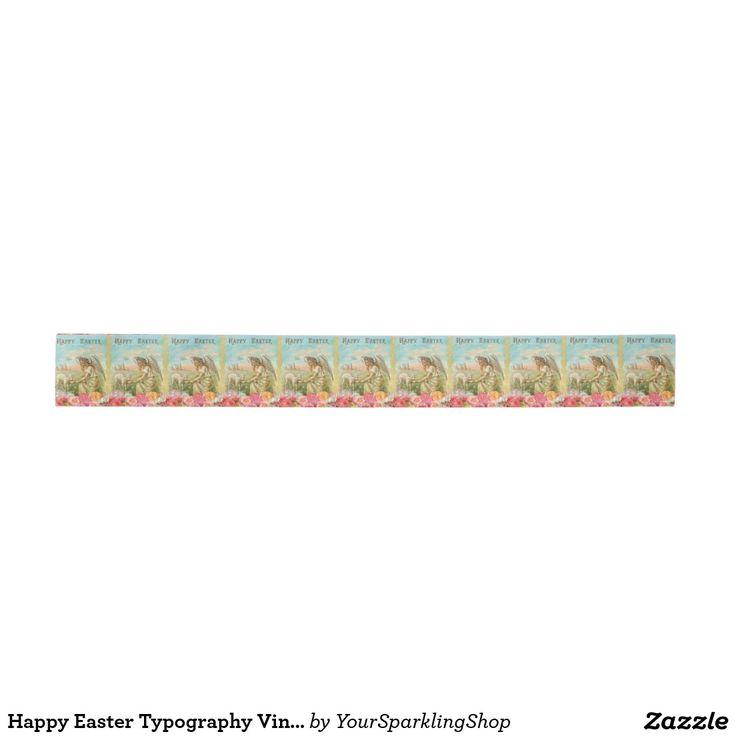 Happy #Easter Typography #Vintage #Angel #Lamb Ribbon