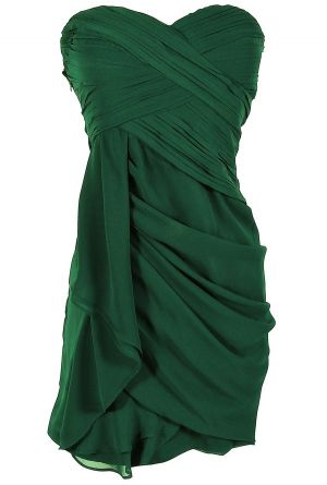 pretty! Dreaming of You Chiffon Drape Party Dress in Hunter Green by Minuet