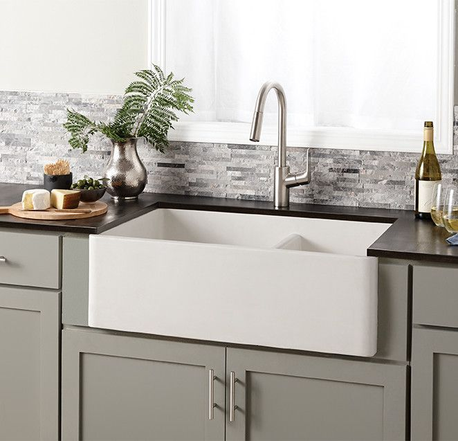 "33"" L x 21"" W Double Basin Farmhouse Kitchen Sink 