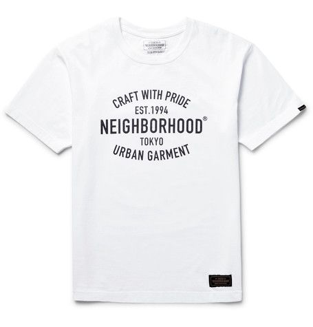 Neighborhood's classic white T-shirt pays homage to the label's history. Cut in a semi-fitted shape, it has been made in Japan from cotton-jersey and printed with bold branding. Make it the focal point of your outfit by keeping everything else pared back.