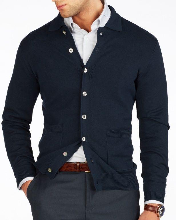Dark Blue Collar Cardigan  – Knitwear