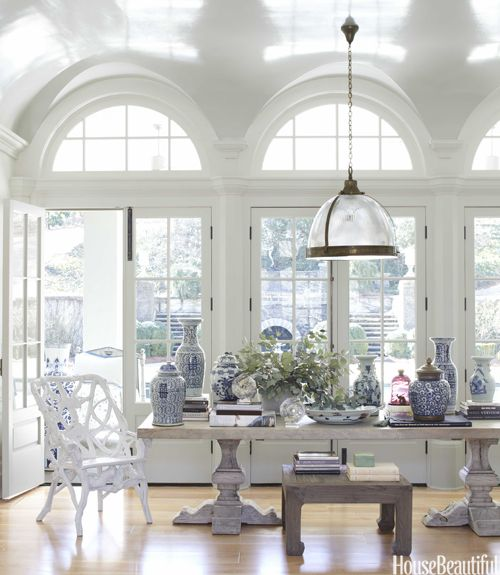 trestle table, arched windows, high gloss ceiling