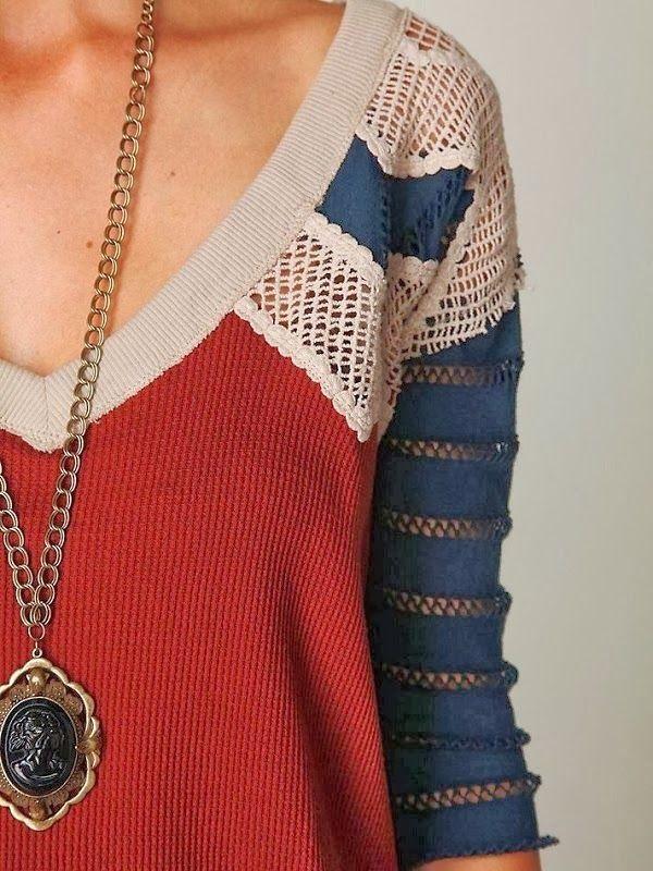 V-Neck Shoulder Lace 3/4 Sleeves Blouse