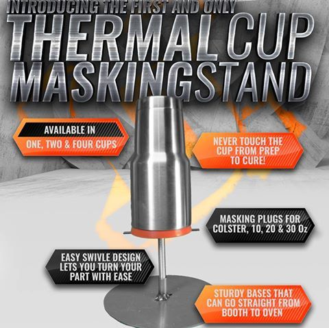 Powder coating Yeti cups?  Check out this time-saving thermal cup masking stand.