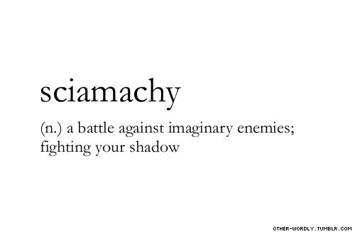 Sciamachy: a battle against imaginary enemies; fighting your shadow. Found at: other-wordly.tumblr.