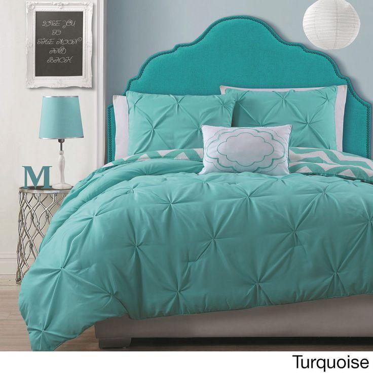 Modern Pintuck Reversable Chevron Turquois Girl Teen 4PC Comforter Set Twin Full