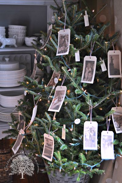 Christmas tree with hang tag photos of the past year's memories #diy