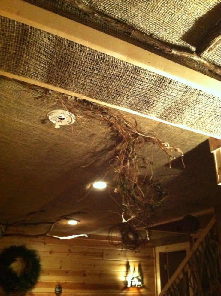 Burlap Ceiling Perks Handmade Rustics Pinterest