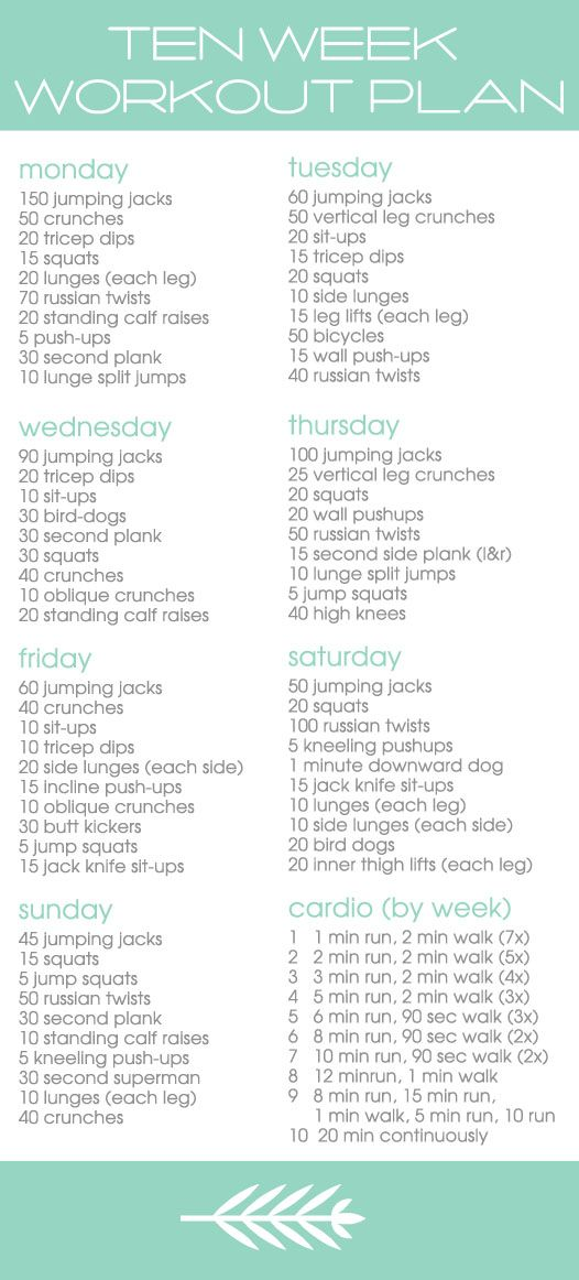 10 week workout plan for summer. Starting it this week!