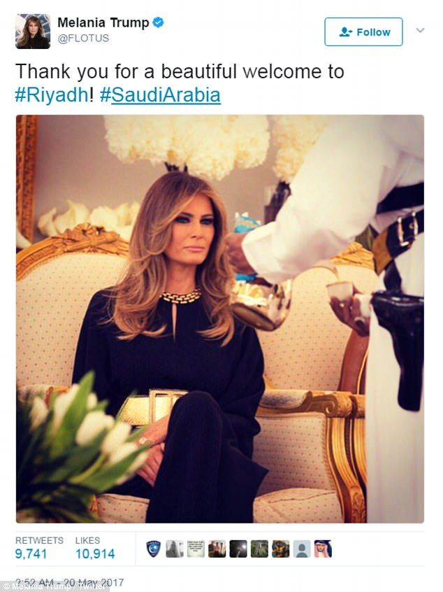 Melania tweeted after she and the President arrived in Saudi Arabia for Trump's first trip abroad as the President