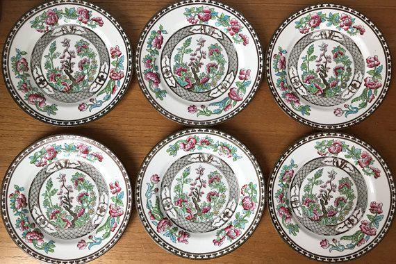 Aynsley Vintage Plates, Indian Tree Pattern China Plates, 1920s - 1930s Hand Painted Tea Plates, Dinnerware