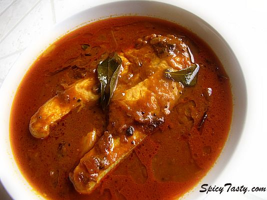 Spicy Fish Kuzhambhu - I am always looking for fish recipes.  This is a very good one.  I cut the oils in half to keep the calories down some.