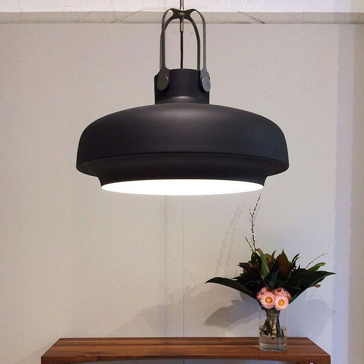 Copenhagen pendant lights up a Johansen Hall table in our Redfern showroom via greatdanefurniture- black, lighting, decor