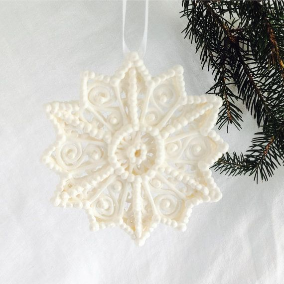 Filigree Snowflake Hanging Sugar Ornament for by SugarFunOrnaments