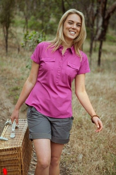 Look classic and classy in our women's bamboo shirt with a modern, feminine fit and sensible style. Easy-to-wear with its button-up half-placket. Made of 50% bamboo and 50% cotton - environmentally-sound as it is skin-friendly. It is lightweight, breathable and antibacterial so you'll stay comfortable wherever you go. Also features cap sleeves and patch pockets with concealed button closure.