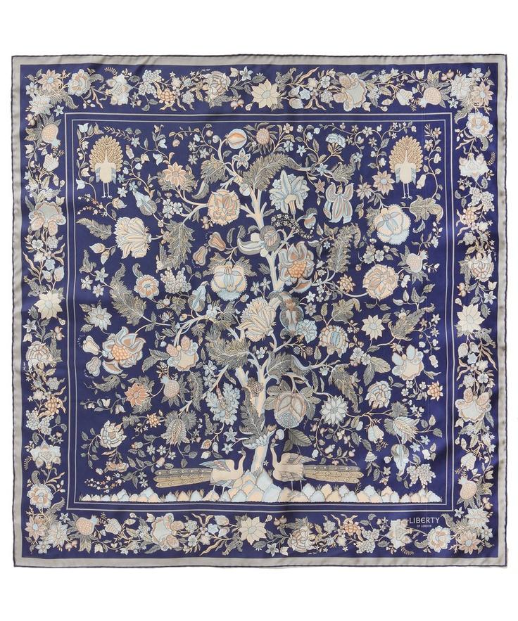 Navy Tree of Life Print Silk Scarf, Liberty London Scarves.