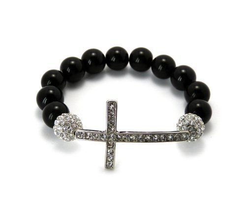 "Silver 12mm Glass Beaded Bracelet with Iced Out cross and Disco Balls Shamballa JOTW. $14.95. Great Quality Jewelry.. Approximate Measurements Of Cross: 1.15""Length x 1.85""Height. 100% Satisfaction Guaranteed!"