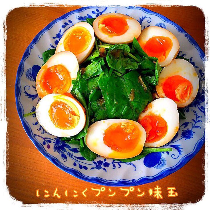 Tomoko Ito's dish photo ニンニクぷんぷん味玉 | http://snapdish.co #SnapDish #レシピ #おつまみ #野菜料理 #味付き卵