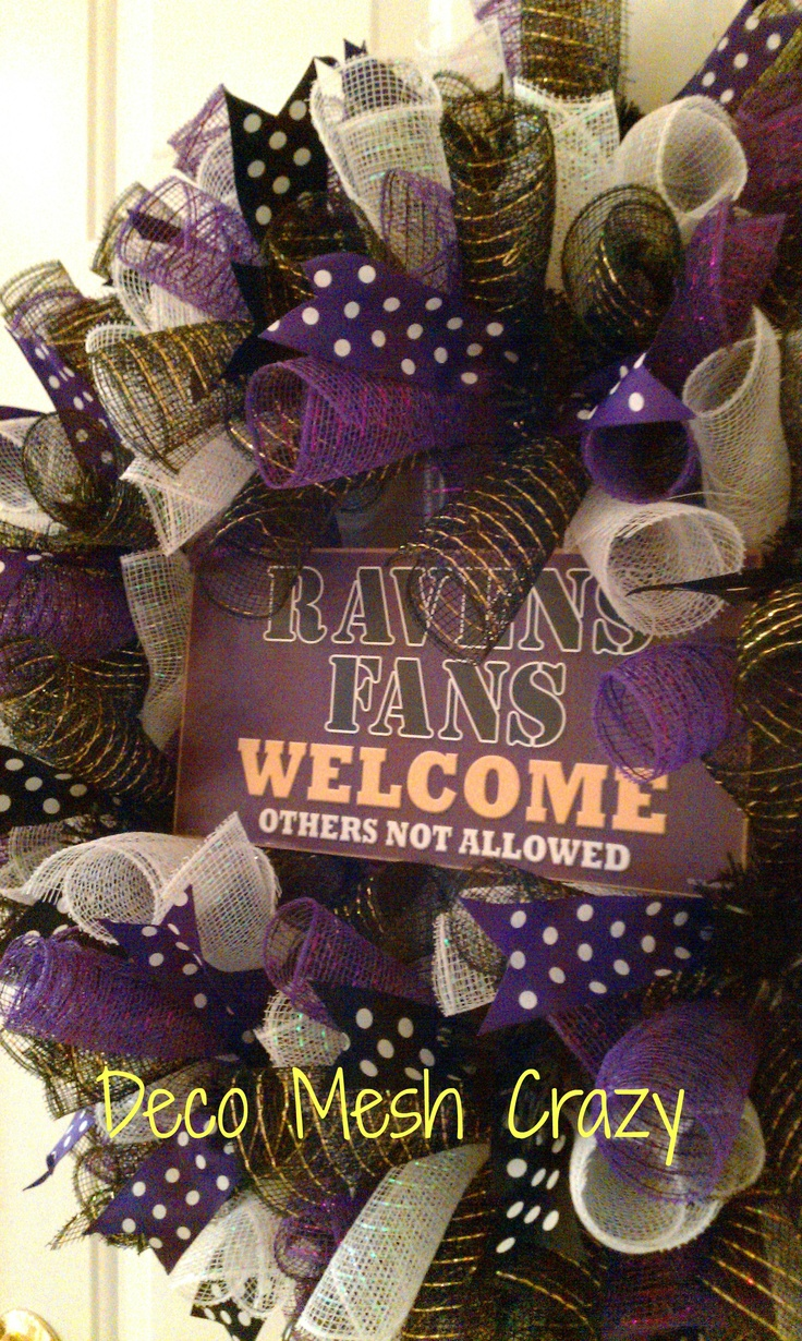 Baltimore Ravens Sports Deco Mesh Wreath- http://www.facebook.com/decomeshcrazy