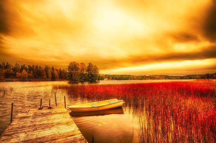 Sunset over the lake by Sebastian Rudnicki on 500px