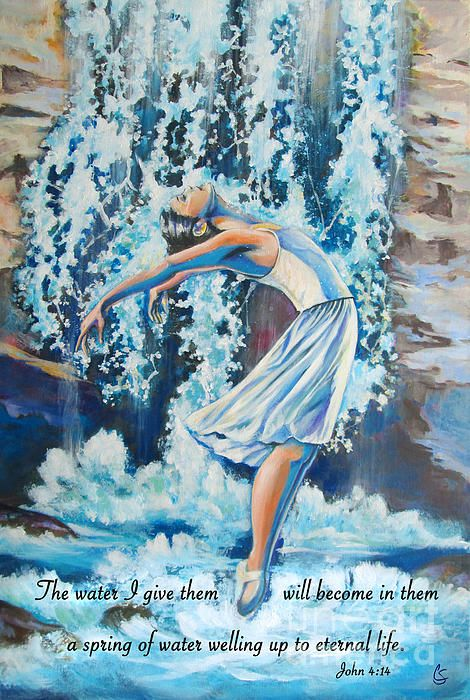 This painting is the same as the previous Living Water painting only with the added verse of John 4:14. This painting speaks of and declares our identity when we are filled with the Holy Spirit. Let the words of this verse penetrate into your souls as you meditate on the imagery of rushing, flowing water pouring over the worshipper after God's heart.