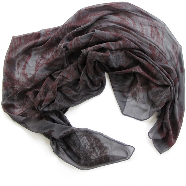 Arlette Ess Oversized Silk Georgette Scarf – Foxes ($301) via Polyvore