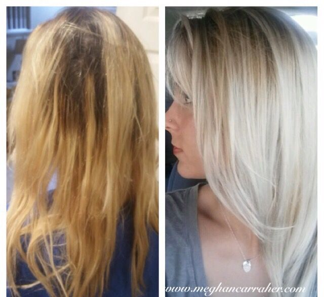 Blonde Highlights Base Lift Olaplex Haircut Hair Love Before After First Time Guest Color