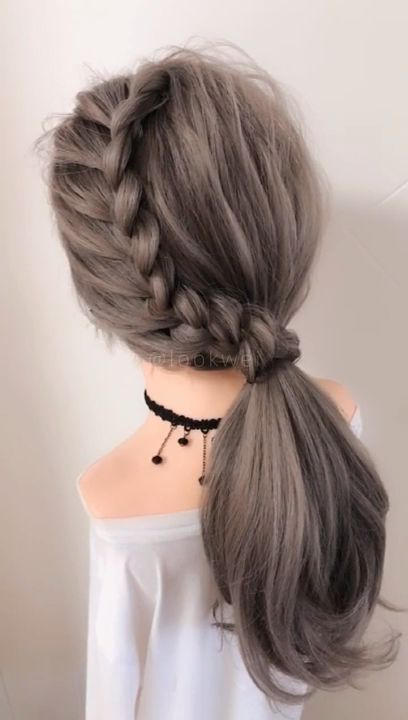 Beautiful hairstyle with sloping braids