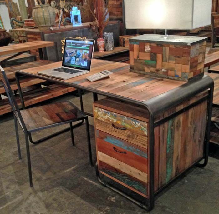 Salvaged Boat Wood Desk with 3 drawers From Impact Imports of #Boise and  #Philadelphia - 43 Best Reclaimed Fisher Boat Wood Furniture Images On Pinterest