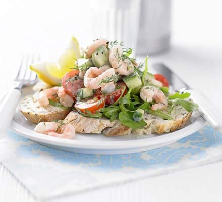 Open prawn sandwich : 173 calories, protein 17g, carbohydrate 22g, fat 3 g, fibre 3g, sugar 7g, salt 1.6 g