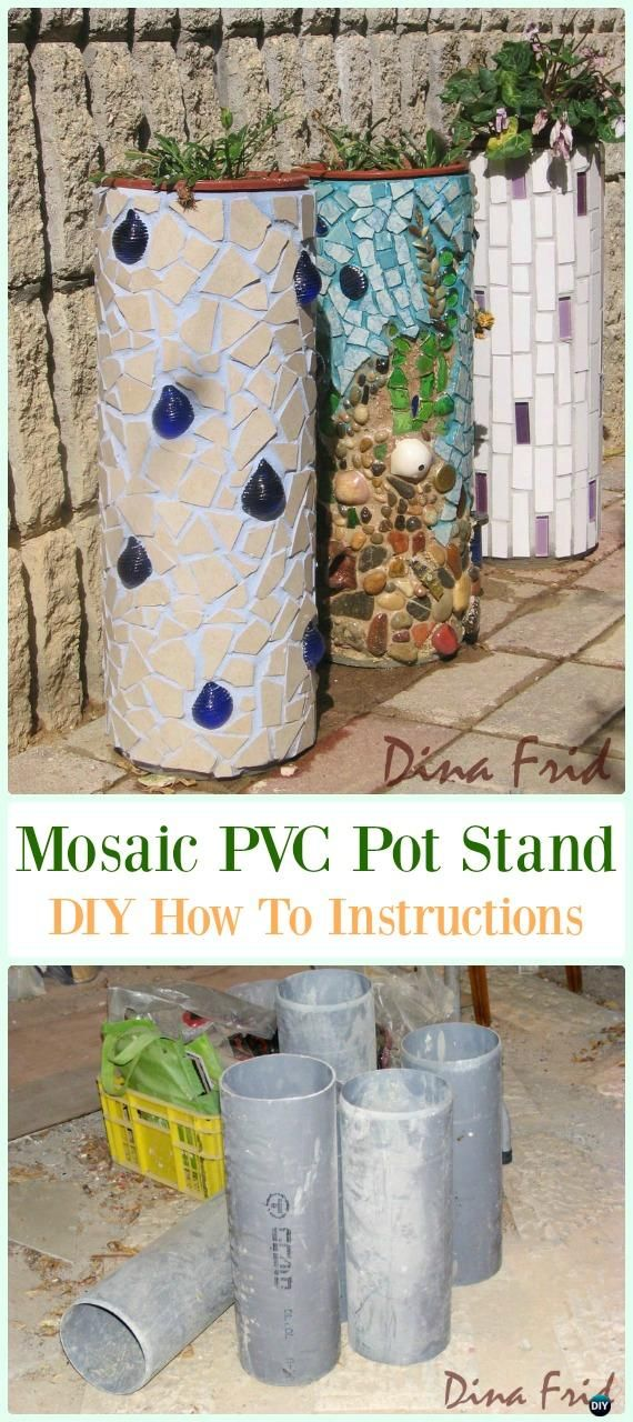 Mosaic PVC Pipe Flower Pot Stand DIY Instructions - Low Budget DIY PVC Garden Projects & 20 Low Budget DIY PVC Garden Projects You Can Do [Picture ...