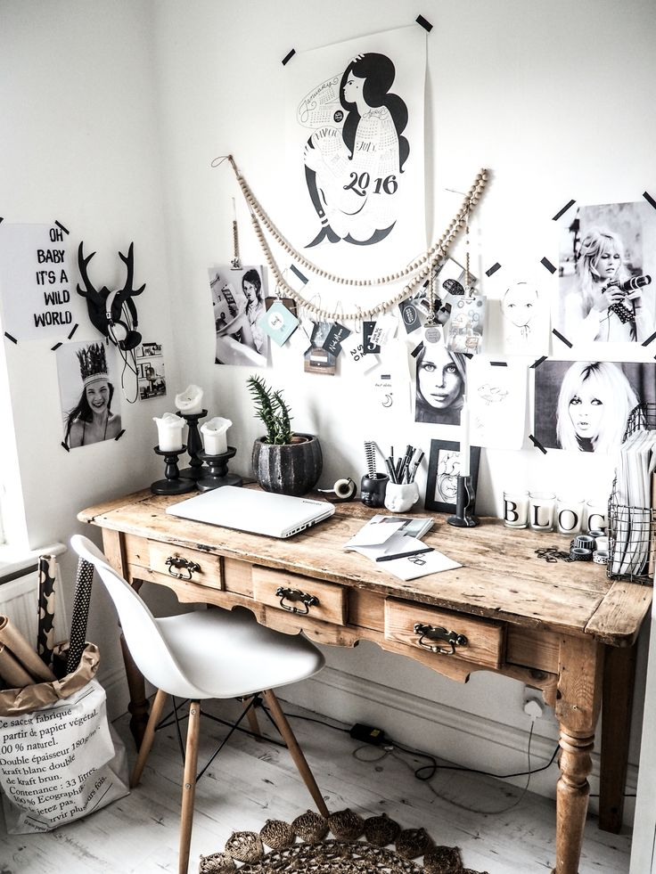 Working from home, this is my home office, eclectic workspace, white walls…