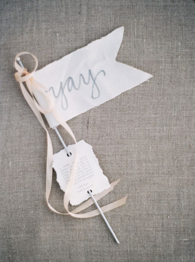 """Yay"" wedding exit streamer: http://www.stylemepretty.com/little-black-book-blog/2015/12/14/intimate-mountain-wedding-in-montana/ 