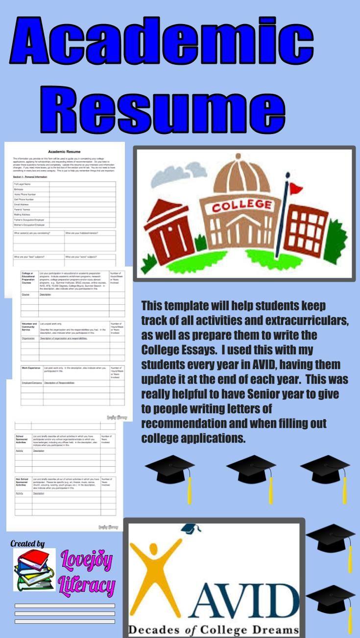 Avid student academic resume in 2020 student writing