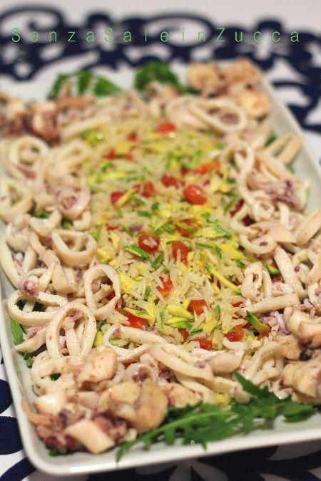 Insalata di riso basmati, rucola, calamari e polipo