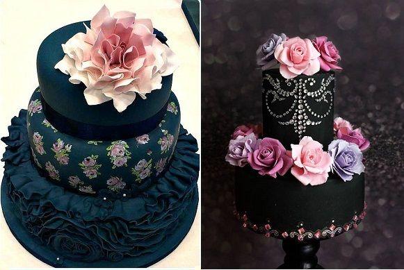 pasteles de boda negro de lun Cottage Cupcakes izquierda y pasteles inusuales para usted derecho