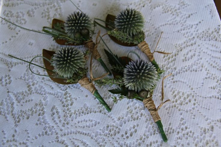 sea holly buttonholes www.wanakaweddingflowers.co.nz/gallery/buttonholesandcorsages/