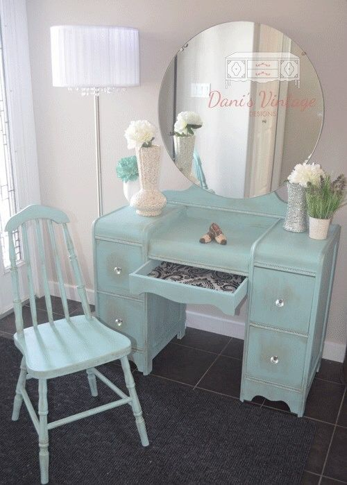 Turquoise vanity by Danis Vintage Designs Handmade Furniture - http://amzn.to/2iwpdj4
