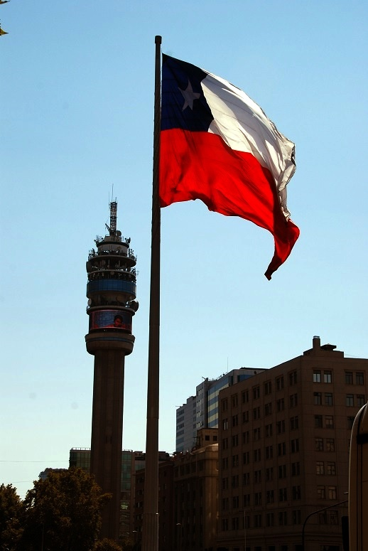 Chile Santiago - Bicentennial flag and Torre Entel.