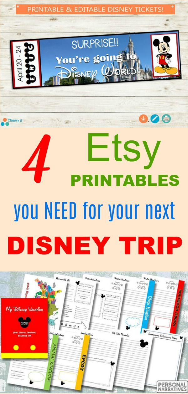 Tickets for a surprise reveal for the kids, letter from favorite Disney characters, travel journals, ...