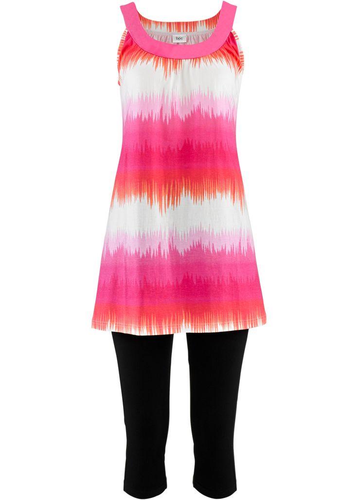 Elbise+Kapri tayt (2 parça set), bpc bonprix collection, açık pembe/beyaz baskılı+siyah