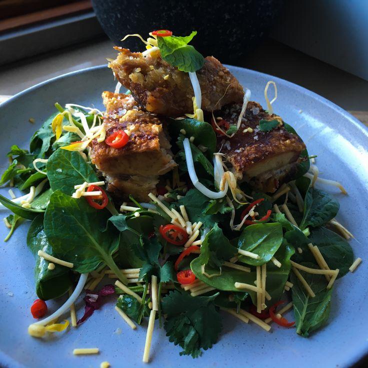Crispy Pork belly & crunchy noodle salad with orange, honey & balsamic vinaigrette