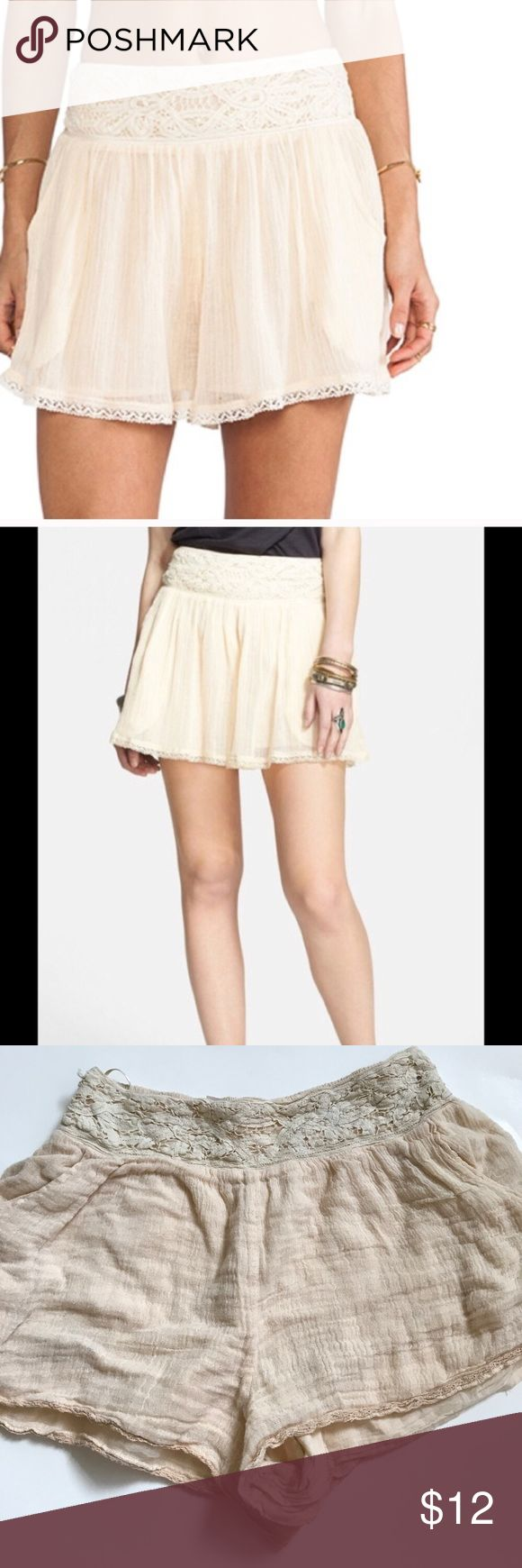 Free People cream lace shorts S Gently used condition no holes no stains. Fully lined. Elastic waist. Gauzy like fabric Free People Shorts